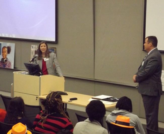 Health Department of Northwest Michigan's Erika Van Damn Speaking at Advocacy Day last April